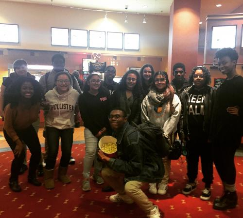 EVO students attending a showing of Hidden Figures.